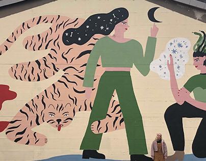 Tiger and medusa mural