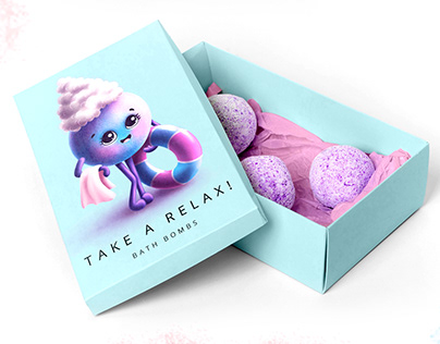 Brand character bath bomb and package design