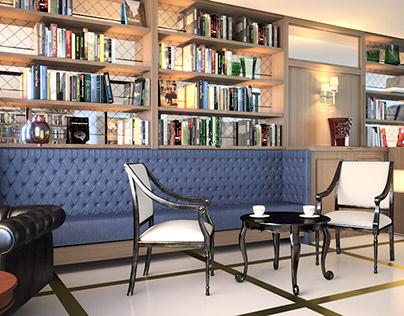 Propuesta decoración interior. Cafetería-biblioteca