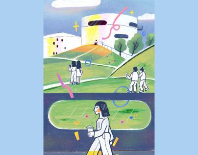Illustration | walking in the art gallery