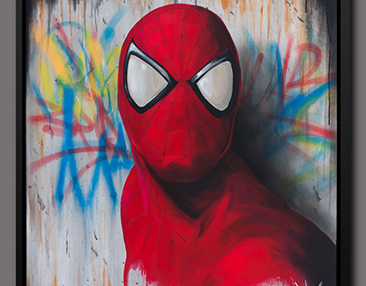 Spiderman art canvas painting Dave Baranes