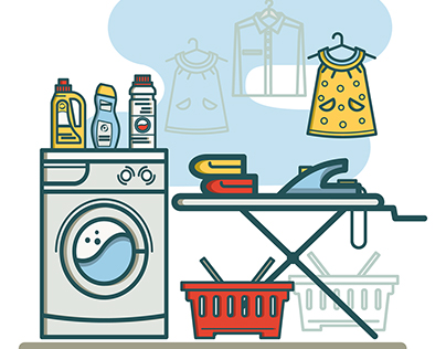 Free laundry room linear icons