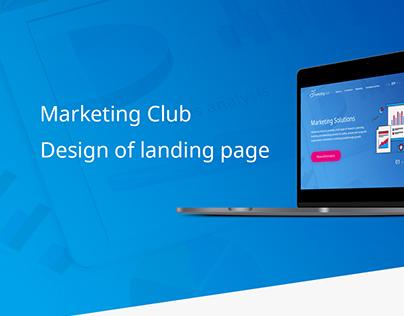 Landing page of company Marketing Club.