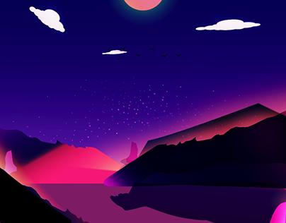 vapor wave sunset illustration
