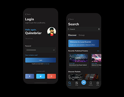 Local Events - Login and Listing - Dark Mode