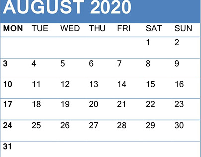 Free Printable August 2020 Calendar With Holiday Notes
