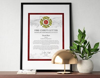 London Fire Department Performance Certificate
