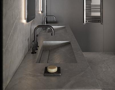 Urban Industrial Bathroom|CGI