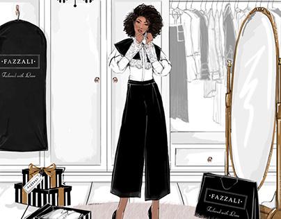 Dressing room fashion styling illustration