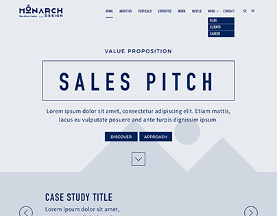 Monarch Design Website Wirefram