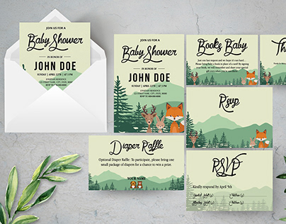Woodland Baby Shower Invitation Suite