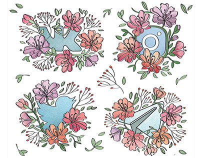 Spring sticker set for YouScan