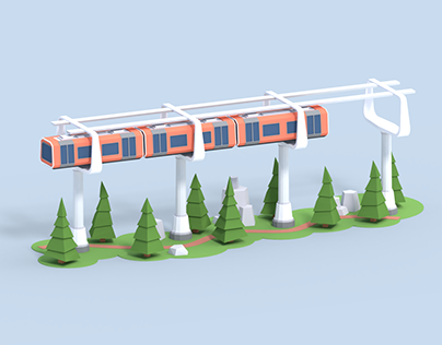 Low Poly Train In The Air