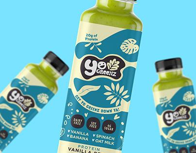 YO GREENZ Smoothie Logo & Label Design