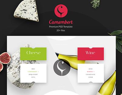 Camembert - Wine Restaurant & Cheese Shop PSD Template