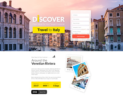 Travel Landing Page. Template