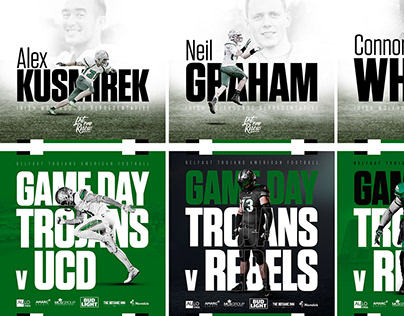 Various Belfast Trojans social media graphics