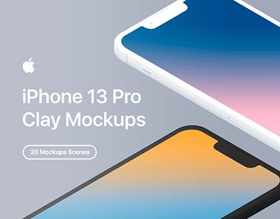 iPhone 13 Pro - 20 Clay Mockups Scenes - PSD