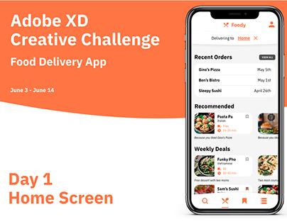 Adobe XD Creative Challenge - Food Delivery App