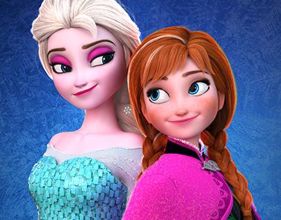 Frozen Anna Elsa 3D Characters