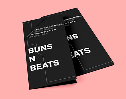 "Fictional Event Poster and Flyer Design ""BUNS N BEATS"""