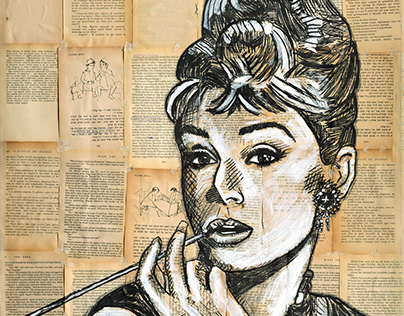 AUDREY HEPBURN PAINTING ON BOOK PAPERS PAGES