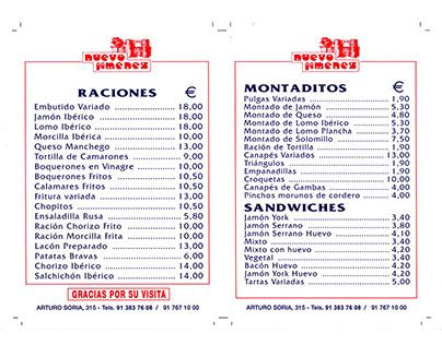Maquetacion diptico a doble cara carta restaurante