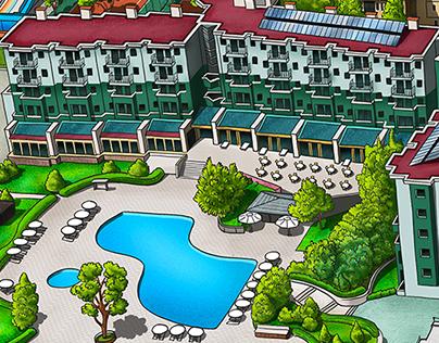 Phaselis Rose Hotel Info Map Illustration