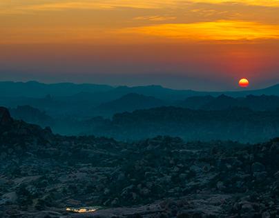SUNRISE VIEW FROM MATANGA HILL, HAMPI.
