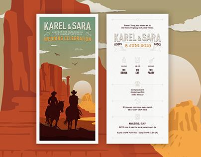 Huwelijksuitnodiging Karel en Sara