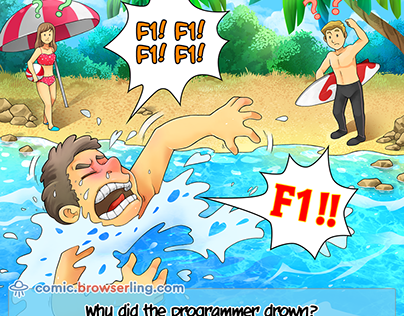Drowning Web Designer - Weekly Web-comic for Developer