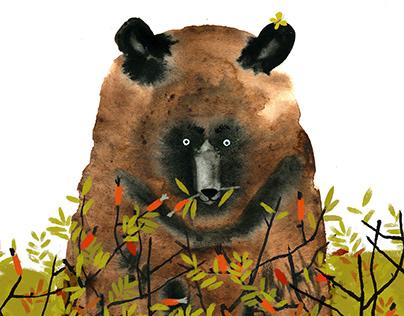 Bear in a rosehip