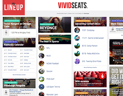My LineUp, Personalized landing page for event tickets