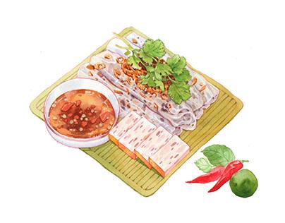 Vietnam street food illustrations
