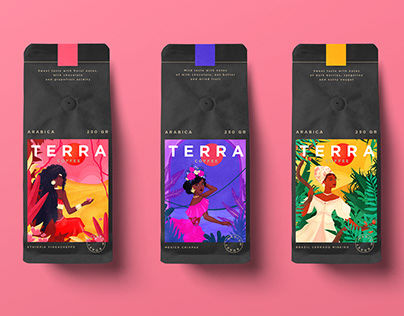 ILLUSTRATIONS FOR COFFEE PACKAGING. CONCEPT