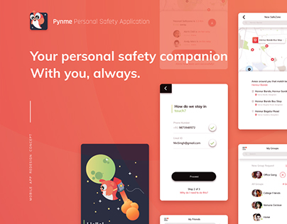 Pynme Personal Safety App Interactions