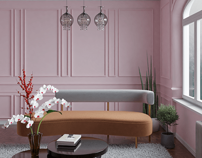 Panelled pink room