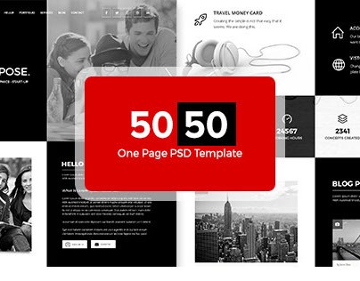 50:50 One Page PSD Template