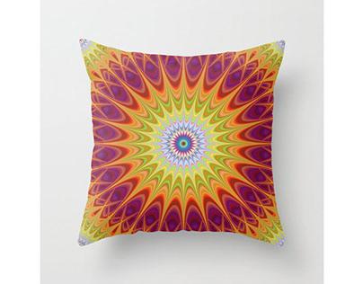 Mandala Sun Throw Pillow