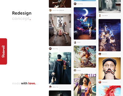 Pinterest redesign concept. UX/UI design