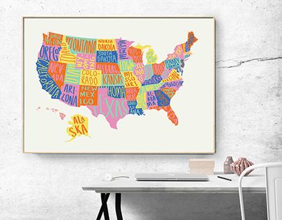 Illustrated USA Map