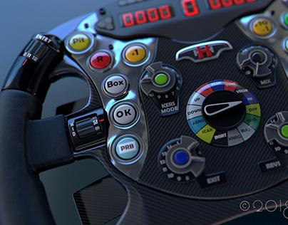 F1 Hammerhead Steering wheel 3D modeling and rendering.