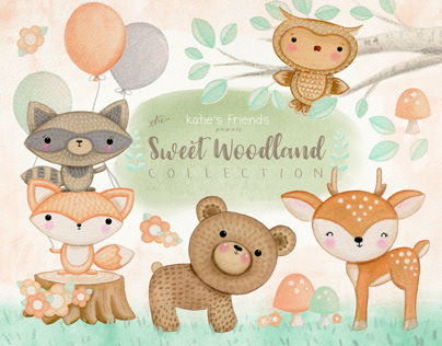 Sweet Woodland hand-drawn clipart collection