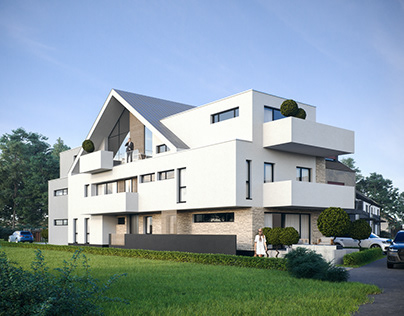 Exterior visualization of a multi-family house