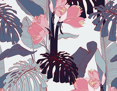Tropical illustration. Summer beach design.