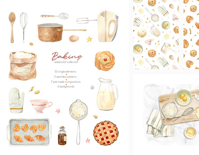 Baking at home - watercolor clipart