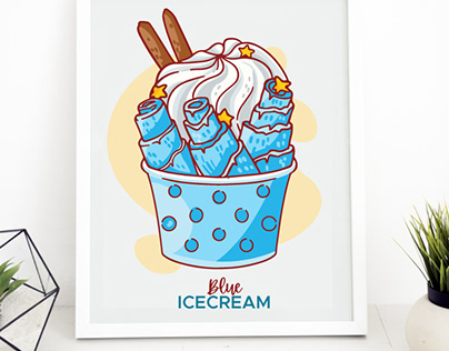 Ice-cream collection in cartoon style