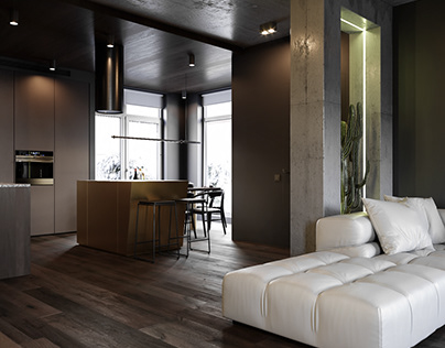 Interior visualization of a living room & kitchen area.