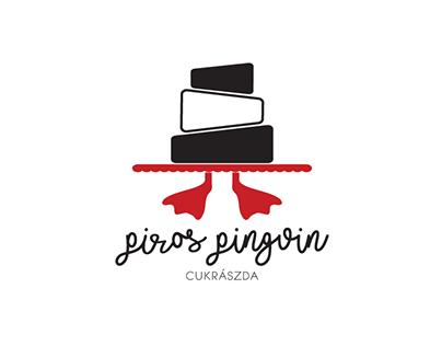 Piros Pingvin Cukrászda (Red Penguin CakeShop) branding