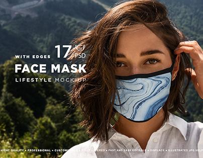 Face Mask MockUp Lifestyle Edges Model